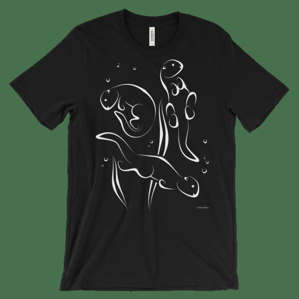 Otters Swimming Black T-shirt