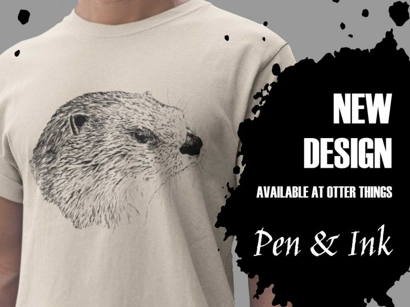 Pen & Ink River Otter Head Ad with Ink Splot