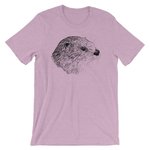 Pen & Ink River Otter Head Unisex T-Shirt_mockup_Front_Wrinkled_Heather-Prism-Lilac