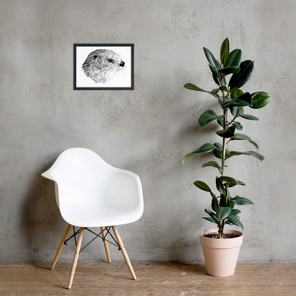 Pen & Ink River Otter Head Framed Poster Lifestyle Mockup 12x16 in