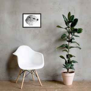 Pen & Ink River Otter Head Framed Poster Lifestyle Mockup 12x16 in