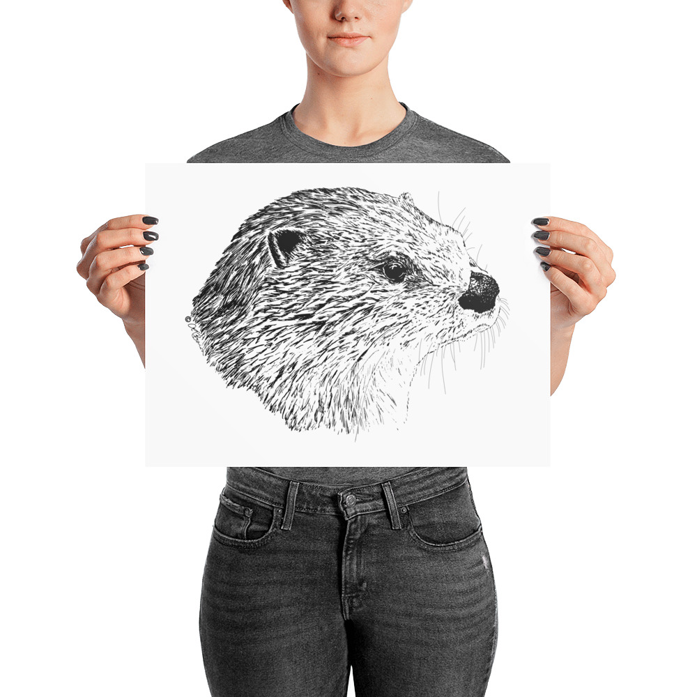 Pen & Ink River Otter Head Poster with Person Mockup 12x16 in