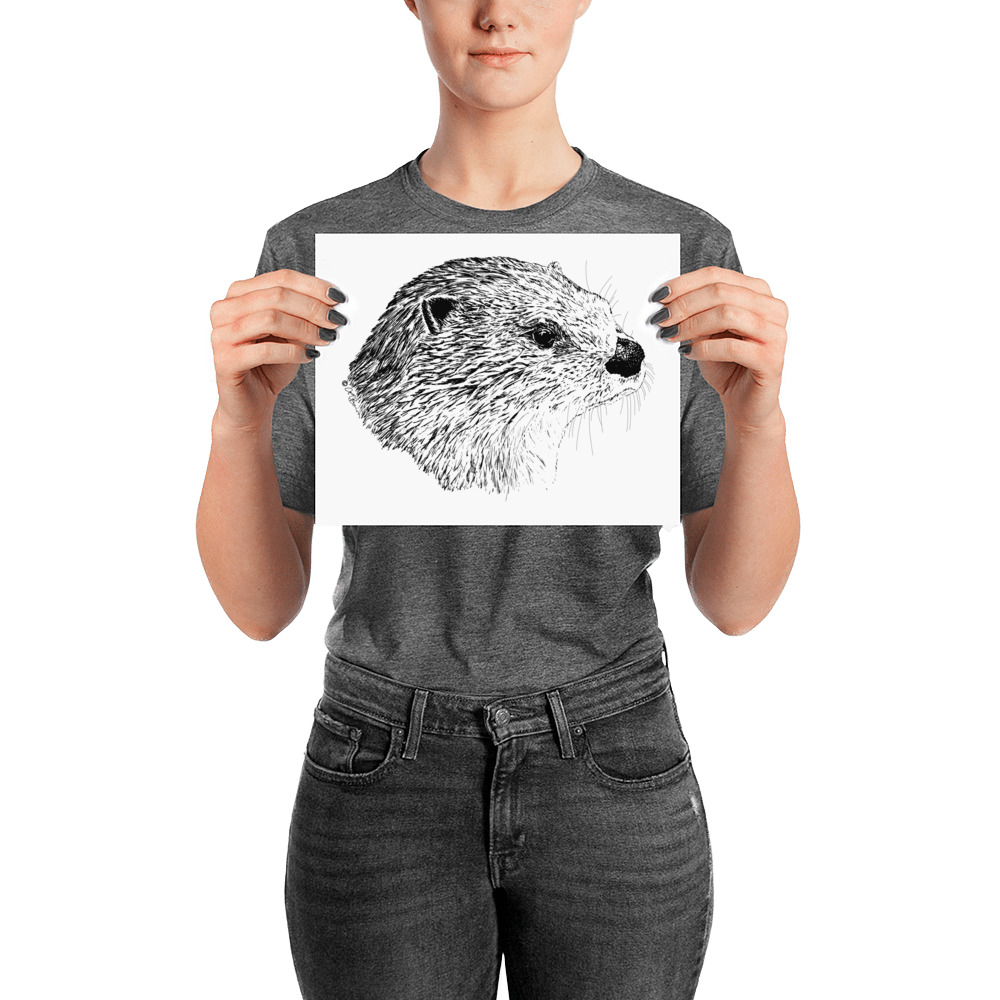 Pen & Ink River Otter Head Poster with Person Mockup 8x10 in