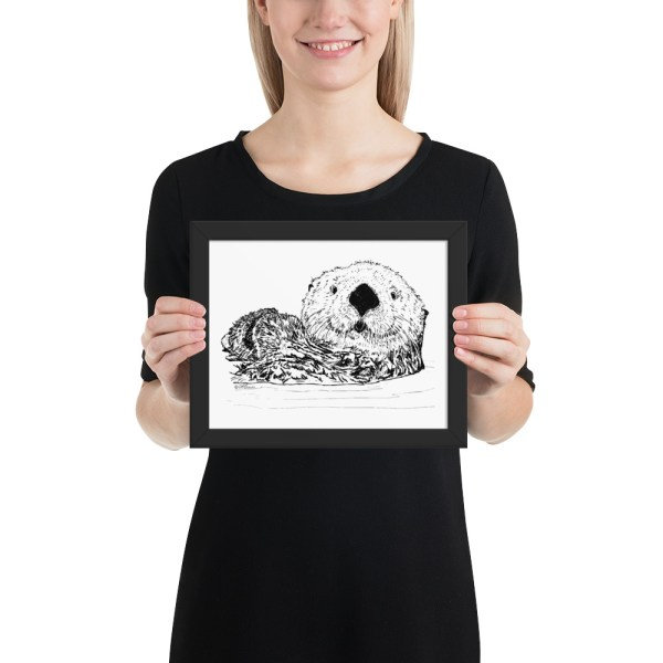 Pen & Ink Sea Otter Head Framed Poster with Person Mockup 8x10 in