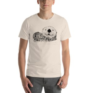 Sea-Otter-Pen-Ink-Unisex T-Shirt_mockup_Front_Mens_Soft-Cream