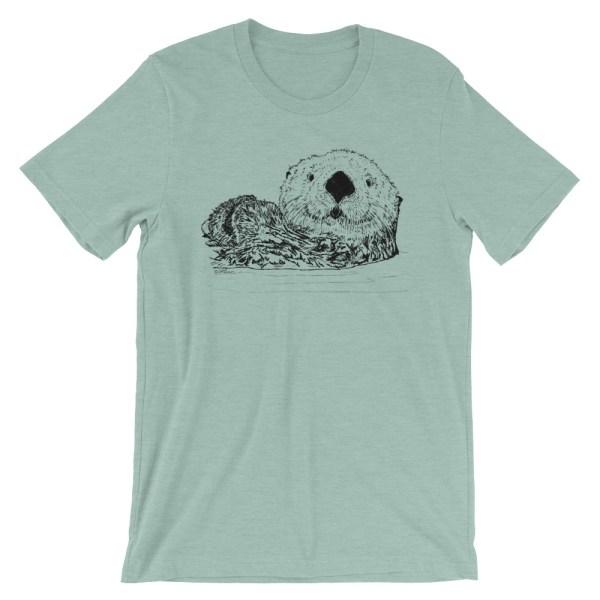 Sea-Otter-Pen-Ink-Unisex T-Shirt_mockup_Front_Wrinkled_Heather-Prism-Dusty-Blue