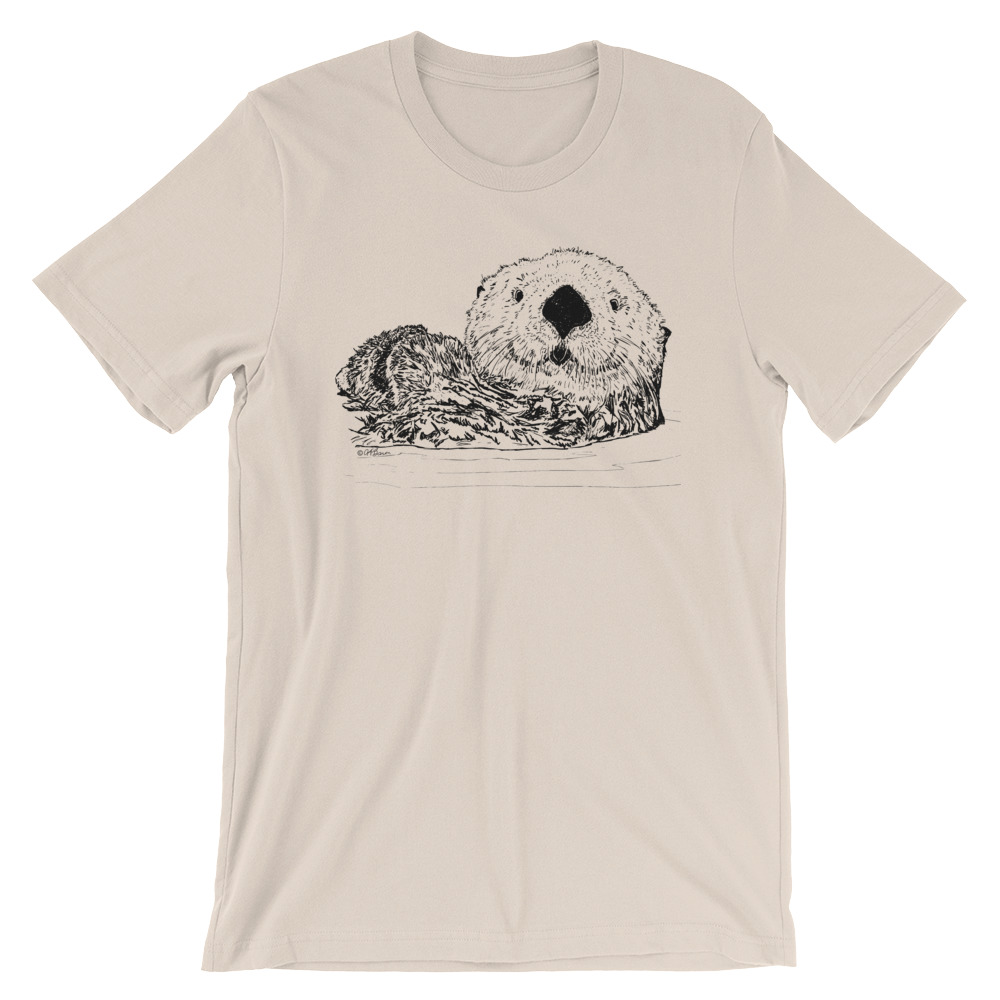 Sea-Otter-Pen-Ink-Unisex T-Shirt_mockup_Front_Wrinkled_Soft-Cream