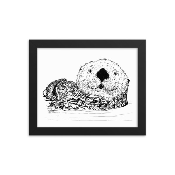 Pen & Ink Sea Otter Head Black Framed Poster Mockup 8x10 in