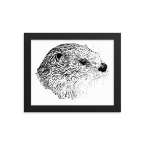 Pen & Ink River Otter Head Framed Poster Mockup 8x10 in