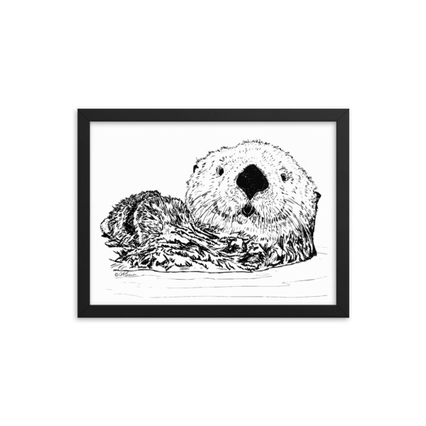 Pen & Ink Sea Otter Head Black Framed Poster Mockup 12x16 in