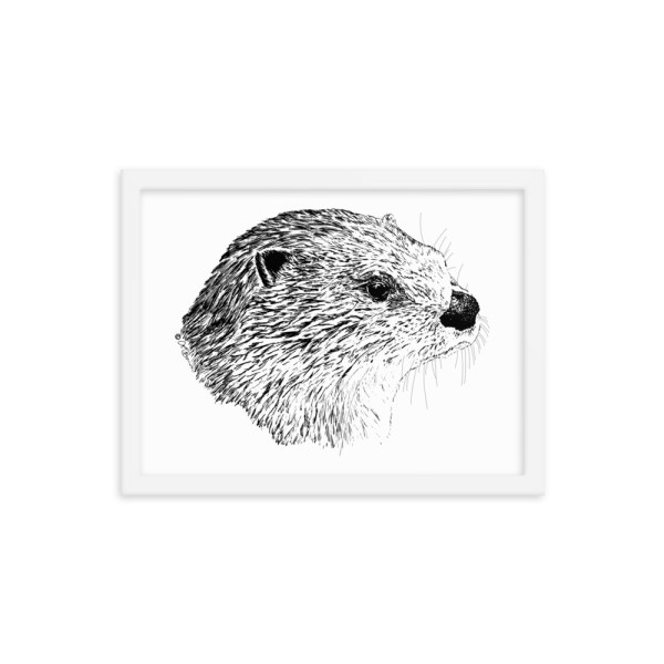Pen & Ink River Otter Head WhiteFramed Poster Mockup 12x16 in