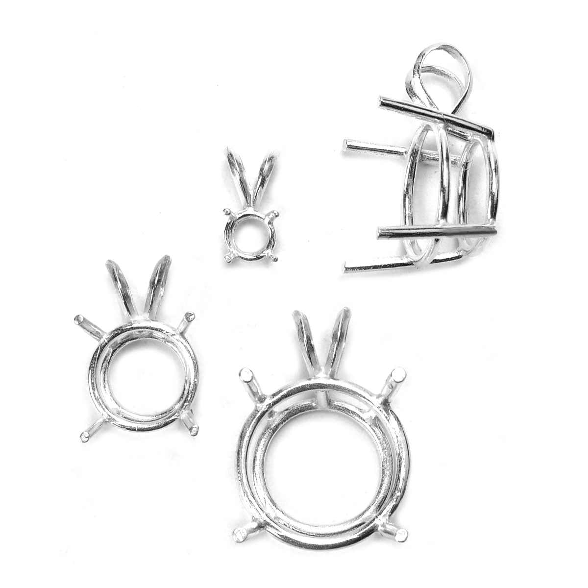 Sterling Silver Round 4 Prong Pendants