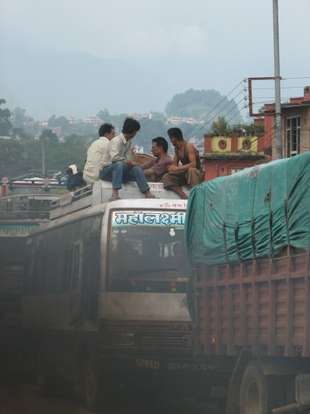 Polluted Nepal Travel by bus