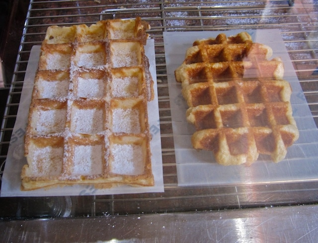 Two types of Belgian waffles