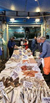 Seafood is paramount in Naples Italy - a seafood table at Porta Nolana Market