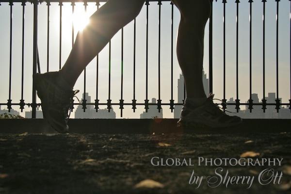 runner at central park resevoir
