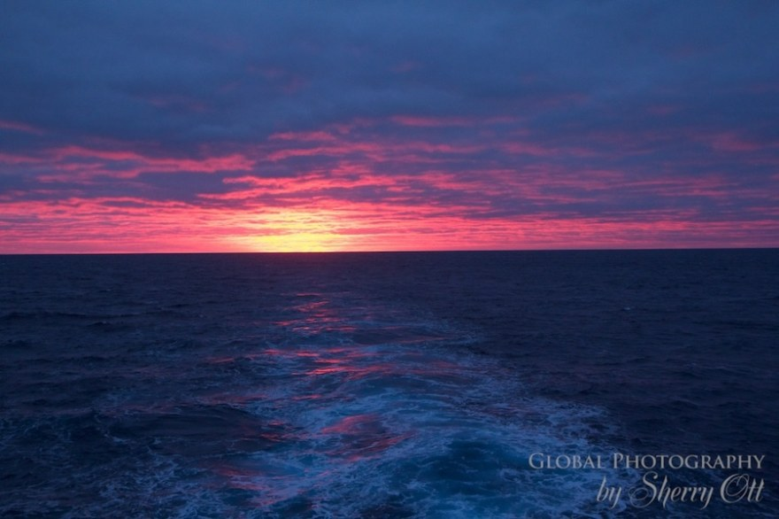 Colorful sunrise in Antarctica from the MS Expedition