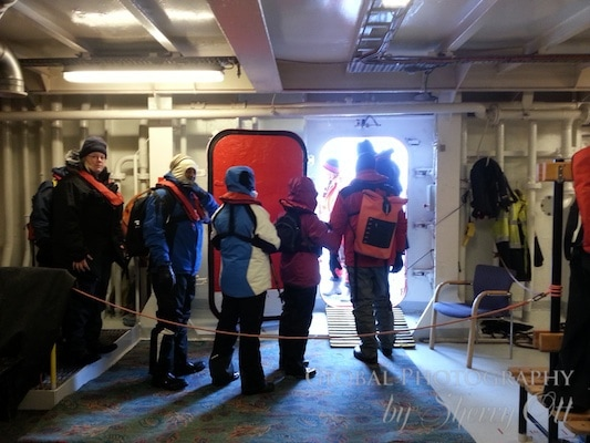Getting ready to go out for a zodiac landing to Antarctica