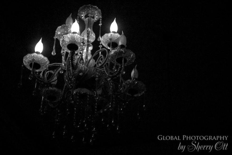 Dimly lit chandelier