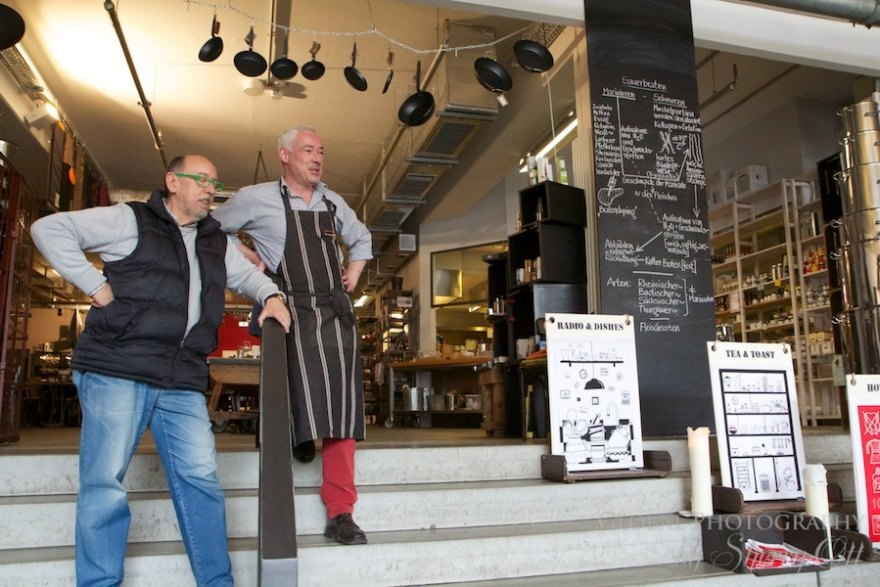 Chef Ralf and co-owner/win expert explaining the history of sauerbraten.