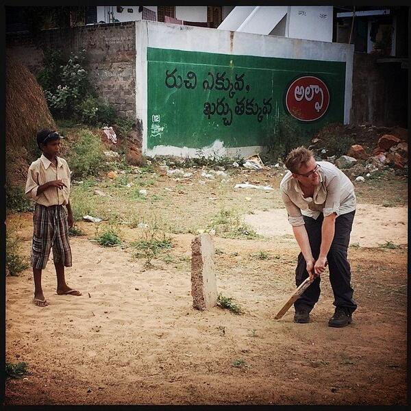 cricket with kids in India on the Rickshaw run
