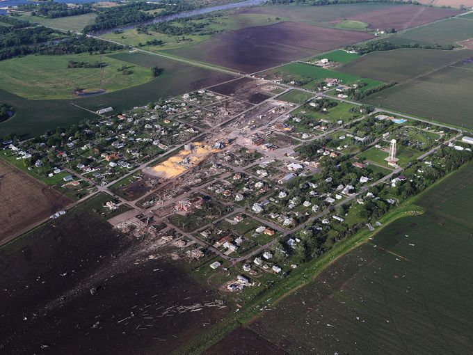 Aerial view of the path of the tornado.  The town is really small and my aunt lived near the bottom left corner where everything was blown out into the fields.