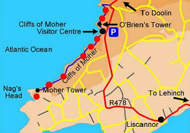 Cliffs of Moher Walk Map
