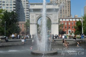 Washington Square Park on a hot day