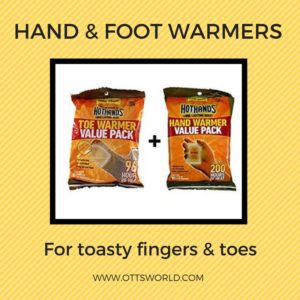 winter packing list hand foot warmers