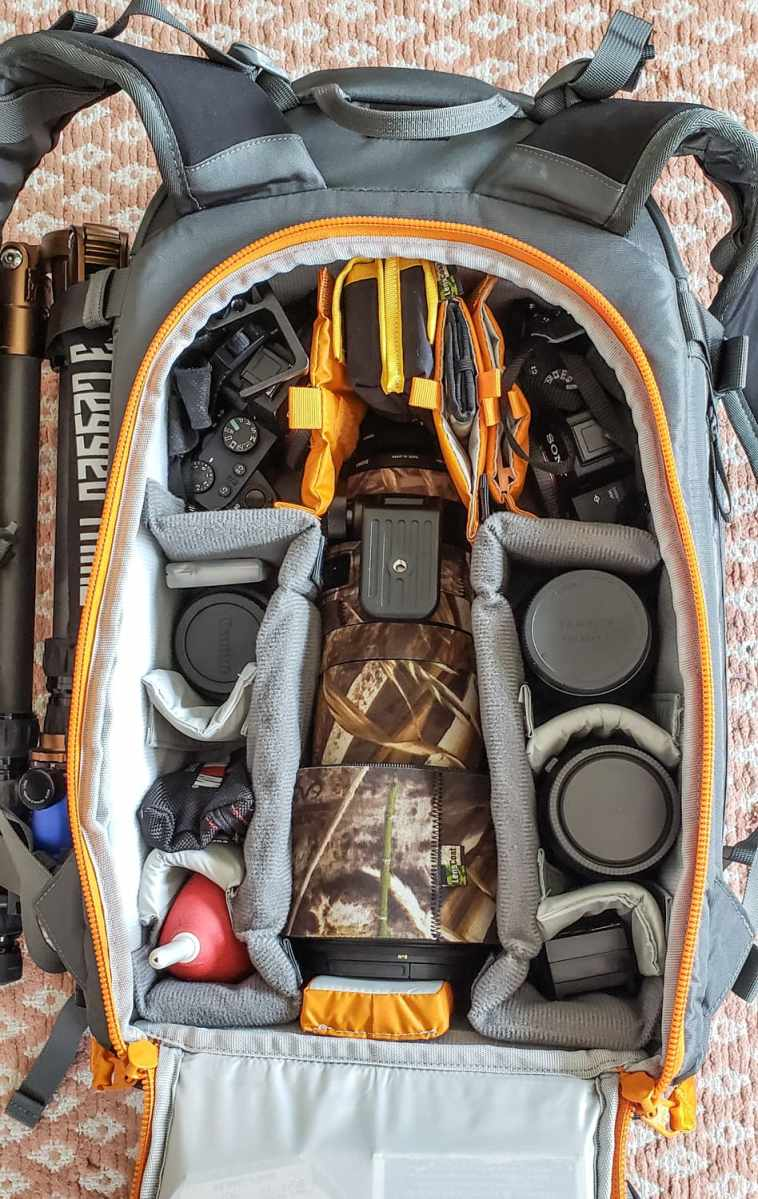 Photography camera bag packed