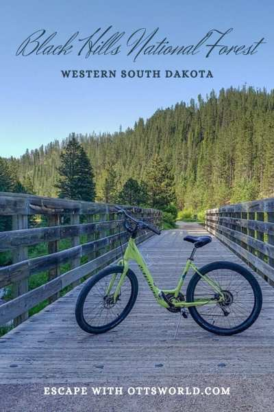 bike on trail in black hills national forest south dakota usa