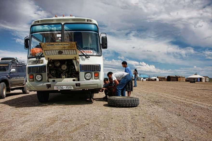 mongolia bus breakdown