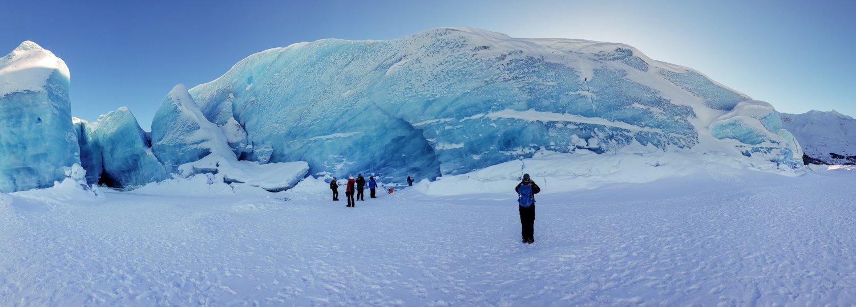Stnading at the front of spencer glacier