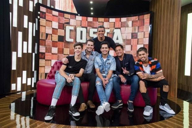 Márcio Garcia com o cantor Leonardo e os filhos (Foto: Globo/Marilia Cabral)