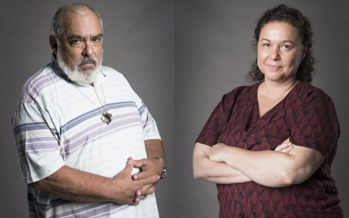 Agenor (Roberto Bonfim) e Nice(Kelzy Ecard) em Segundo Sol (Foto: Reprodução)