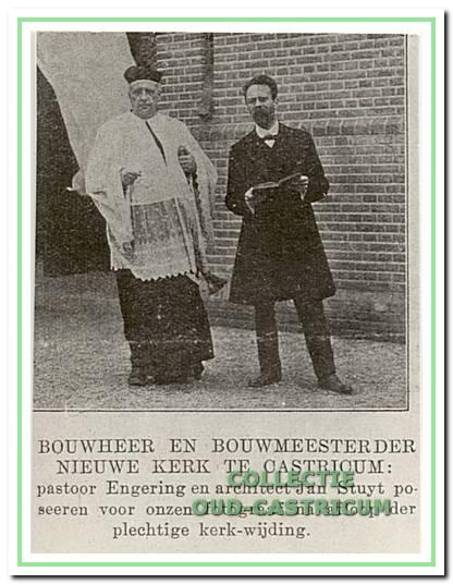 Bouwheer Engering en bouwmeester Stuyt poseren na afloop van de plechtige kerkwijding voor de kerk.