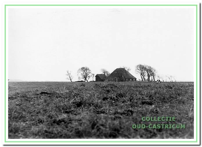 Polderlandschap aan de Heemstederweg. Op de achtergrond zien we boerderij Kronenburg.