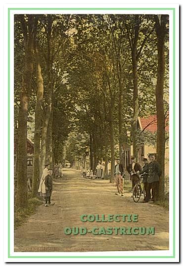 """De Kramersweg in 1907: """"Ik denk nog vaak aan de Burg. Mooijstraat zoals die vroeger was, heel dorps en vol grote bomen"""" (Riet Vader)."""