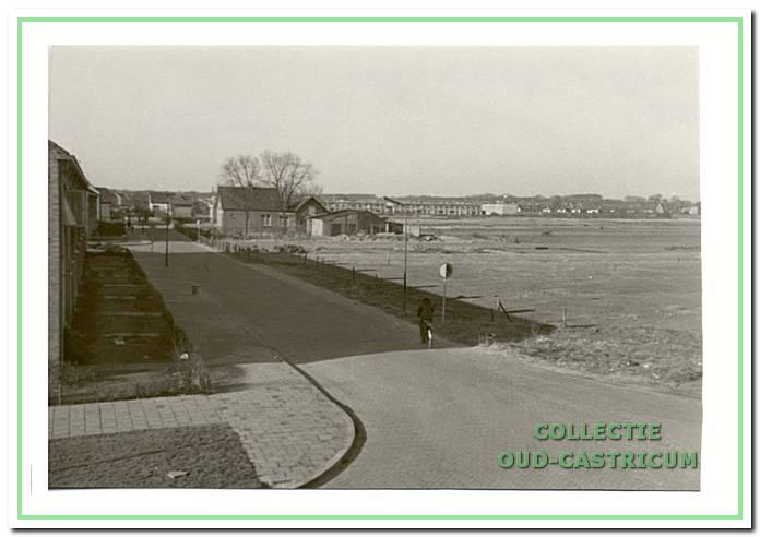 Deze foto van de Eerste Groenelaan is genomen vanaf de Willem de Zwijgerlaan. Rechts het huis van Piet Neelissen. Op de achtergrond huizenbouw aan de Iepenlaan/Lindenlaan.