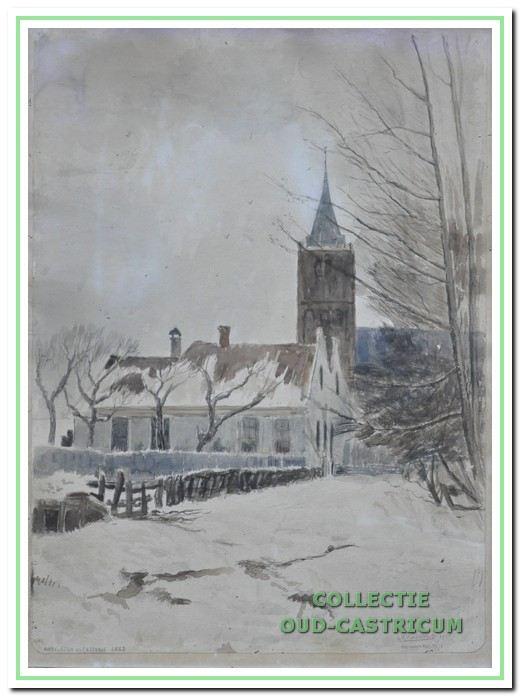 Hervormde kerk gezien vanuit de Overtoom in 1935.
