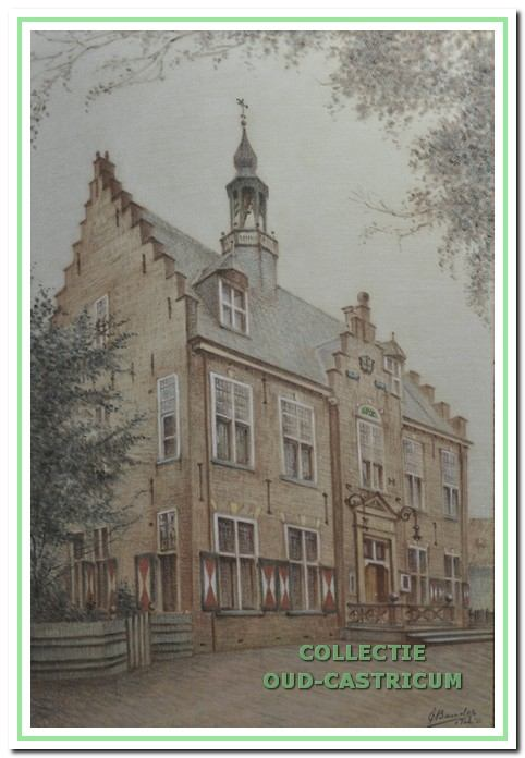 De tekening van het oude raadhuis van de kunstenaar Jan C. Bander (1885-1956) die de burgemeester als cadeau ontving bij zijn ambtsjubileum. Bij haar vertrek uit de gemeente schonk mevrouw Lommen de tekening aan gemeenteambtenaar Herman Koelman, die deze later overdroeg aan oud-gemeentesecretaris Fons Mok.