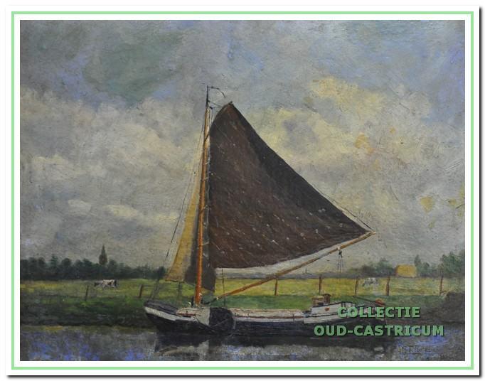 Het zeilschip van Freek Bollenberg volgens een schilderij van Sijf Portegies.