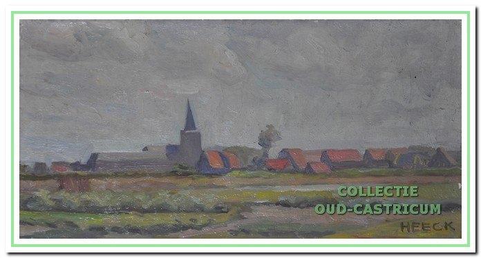 Zicht op Castricum vanaf de Ruiterweg, 1946.