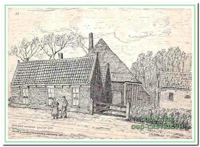 Het armenhuis werd in 1911 gesloopt. In de boerderij op de achtergrond en het naastgelegen schuurtje was een bakkersbedrijf gevestigd.