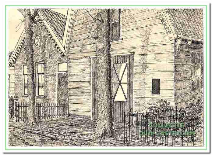 Tekening door Sijf Portegies van de aan elkaar gebouwde panden (nr 7 en 9) van zijn vader Piet Portegies, omstreeks 1920. Links het woonhuis, rechts de werkplaats, waarin de eerste winkelactiviteiten een aanvang namen.