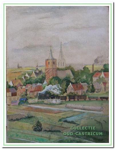 Gezicht op Castricum vanaf Papenberg, aquarel, 1952.