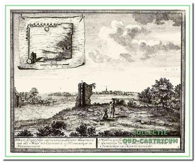 De gravure van Hendrik de Leth waarin de kasteelplattegrond is opgenomen die in 1728 door Johannes Rollerus blootgelegd en ingetekend is.