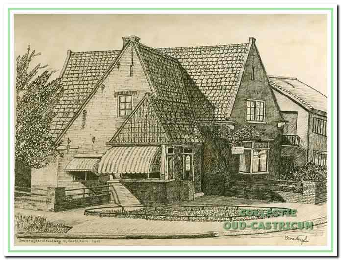 Een tekening van de eerste bakkerij van Burgmeijer aan de Beverwijkerstraatweg, die in de oorlog werd afgebroken.