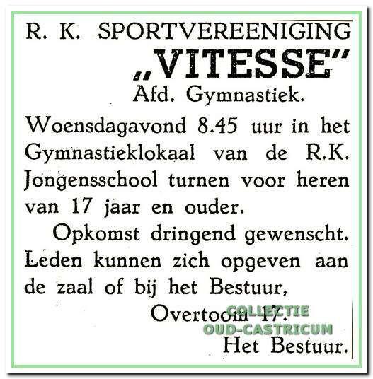 Advertentie uit 1946 met een oproep voor nieuwe leden.
