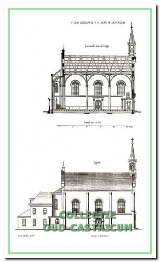 Lengte doorsnede en zij-aanzicht uit de bouwtekeningen van kerk en pastorie, zoals gepubliceerd in 1860 in de periodiek 'Bouwkundige Bijdragen'.